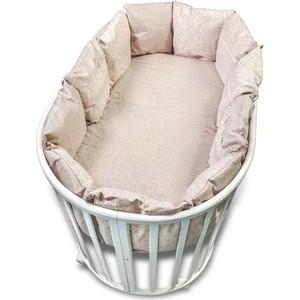 Бортик в кроватку Сонный Гномик 118-12 Версаль дымчато-бежевый универсальный (д/кругл и классич)