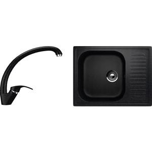 Кухонная мойка и смеситель EcoStone ES-18 черная (ES-18-308, ES-02-308)