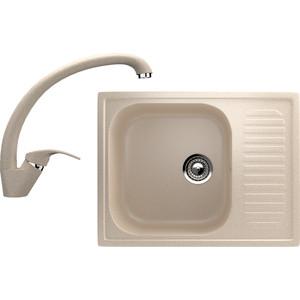 Кухонная мойка и смеситель EcoStone ES-18 бежевая (ES-18-328, ES-02-328)