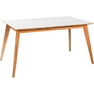 Стол R-home Лунд натуральный бук+белый 140/180x80