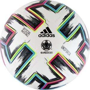 цена на Мяч футбольный Adidas EURO 2020 UNIFORIA OMB,FH7362, р.5, бело-черно-розово-синий