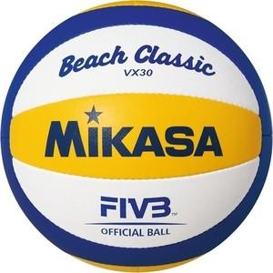 Мяч для водного поло Mikasa VX30, р.5, реплика офиц. мяча FIVB для пляж.вол. VLS300, белый-синий-жёлтый фото