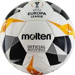 Мяч футбольный Molten F5U5003-G19 р. 5, оф.мяч Лиги Европы 19/20 (UEFA Europa League), FIFA Quality Pro (FIFA Approved), бело-оранжево-черный фото