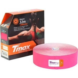 Тейп кинезиологический Tmax 32m Extra Sticky Pink (5 см x 32 м), 423235, розовый