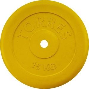 цена на Диск обрезиненный Torres 15 кг. 25 мм. желтый