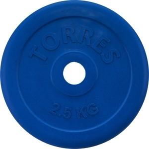Диск обрезиненный Torres 2,5 кг, d.25 мм, синий