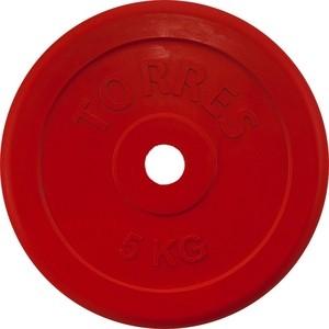 Диск обрезиненный Torres 5 кг, d.25 мм, красный
