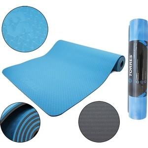 Коврик для йоги Torres Comfort 6, TPE 6 мм, сине-серый