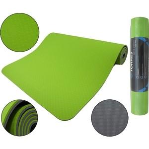 Коврик для йоги Torres Comfort 6, TPE 6 мм, зелено-серый