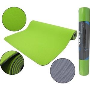Коврик для йоги Torres Comfort4, TPE 4 мм, зелено-серый
