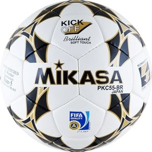 Мяч футбольный Mikasa PKC55BR-1, р.5, серт. FIFA Quality (FIFA Inspected), белый/черный-золотой
