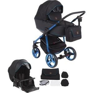 Коляска 2 в 1 Adamex BARCELONA Special Edition кожа черная+черный жаккард+синий BR-620