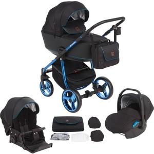 Коляска 3 в 1 Adamex BARCELONA Special Edition кожа черная+синий BR-411