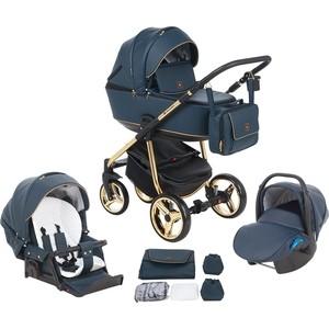 Коляска 3 в 1 Adamex BARCELONA Special Edition кожа синяя+синий+золото BR-338-A
