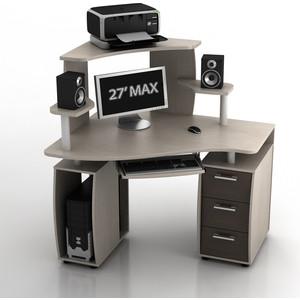 Стол компьютерный ТД Ная Угловой КС-12У Ибис+КН-1 комби дуб беленый ящики венге
