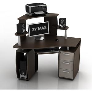 Стол компьютерный ТД Ная Угловой КС-12У Ибис+КН-1 комби венге ящики дуб беленый
