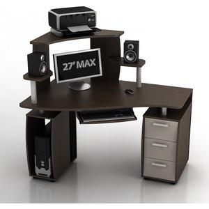 Стол компьютерный ТД Ная Угловой КС-14У Ибис+КН-1 комби венге ящики дуб беленый