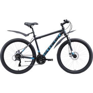 Велосипед Stark Indy 26.1 D Microshift (2020) чёрный/голубой/белый 20