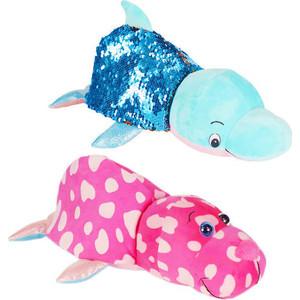 Мягкая игрушка 1Toy Вывернушка Блеск с пайетками Розовый Моржик-голубой Дельфин Т15590