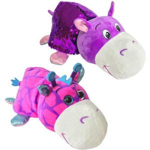 Мягкая игрушка 1Toy Вывернушка Блеск с пайетками Розовый Жираф-фиолетовый Бегемотик Т15588