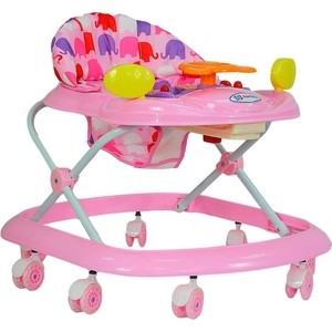 Ходунки Farfello 5020 розовый, принт слоны