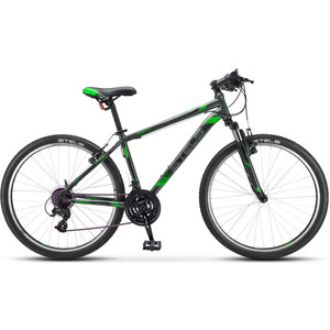 Велосипед Stels Navigator 500 V 26 V030 (2019) 20 черный/зеленый велосипед stels miss 6000 v 26 v030 2018 рама 15 морская волна оранжевый
