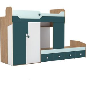 Кровать Моби Джуниор 11.06 гикори рокфорд натуральный/мята/бензин/белый премиум 80х190 фото