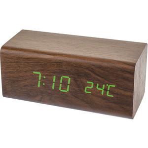 Радиобудильник Perfeo Block коричневый корпус / зеленая подсветка