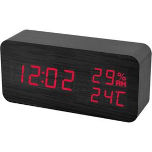 Радиобудильник Perfeo Wood черный корпус / красная подсветка