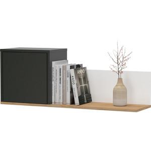 Полка Моби Гравити 10.112 черный/белый премиум/гикори рокфорд натуральный не универсальная сборка фото