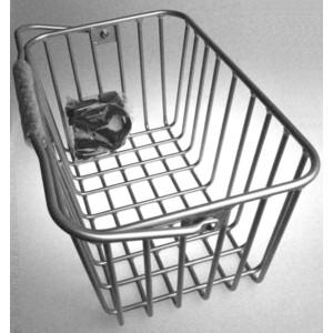 Корзина MOUNT корзина на руль, BY-109A быстросъемная с крепл., алюм., ручка для переноски., легкая, серебр. фото