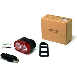 Фонарь велосипедный GACIRON задний W09 60lm. 2диода, автомат, Li- аккум, USB, угол 220 град.черный.60гр фото