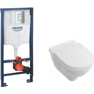 Комплект Villeroy Boch O Novo Rimfree, унитаз с сиденьем микролифт, инсталляция (38772001-5660HR01)