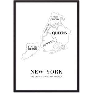Постер в рамке Дом Корлеоне New York карта 50x70 см