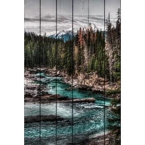 цена Картина на дереве Дом Корлеоне Горная река 60x90 см онлайн в 2017 году
