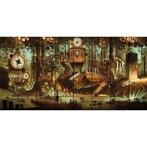 Картина на дереве Дом Корлеоне Город часов 70x140 см