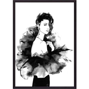 Постер в рамке Дом Корлеоне Девушка в черном Акварель 40x60 см фото