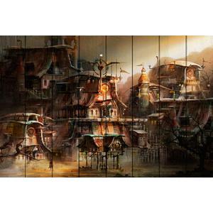 Картина на дереве Дом Корлеоне Деревня Стимпанк 100x150 см фото