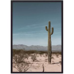 Постер в рамке Дом Корлеоне Кактус в пустыне 40x60 см фото