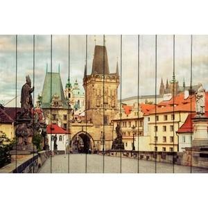 лучшая цена Картина на дереве Дом Корлеоне Карлов мост Прага 100x150 см