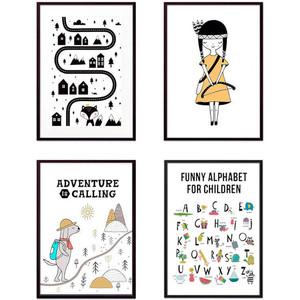 Набор из 4-х постеров Дом Корлеоне Коллаж Детский №138 50х70 см 4 шт. фото