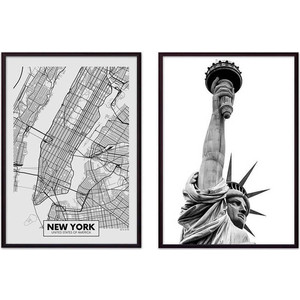 Набор из 2-х постеров Дом Корлеоне Коллаж Нью-Йорк №15 30х40 см 2 шт. статуэтки муравьи 2 шт 15 см и 11 см