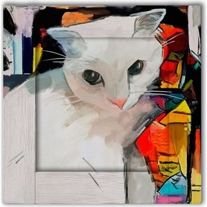 Картина с арт рамой Дом Корлеоне Кошка 70x70 см фото