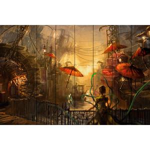 Картина на дереве Дом Корлеоне Красные зонтики 100x150 см