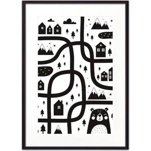Постер в рамке Дом Корлеоне Медвежья тропа ЧБ 30x40 см фото