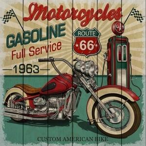 Картина на дереве Дом Корлеоне Мотоцикл 1963 90x90 см