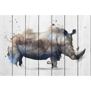 Картина на дереве Дом Корлеоне Носорог Акварель 60x90 см склад уникальных товаров чудо пластилин скульптор носорог