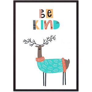 Постер в рамке Дом Корлеоне Олень Be kind 30x40 см миндально кокосовый батончик be kind с медом 40г