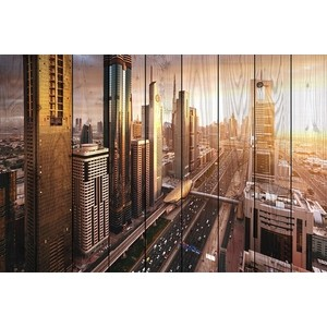 Картина на дереве Дом Корлеоне Панорама Дубая 80x120 см