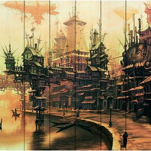 Картина на дереве Дом Корлеоне Рыбацкий город 120x120 см